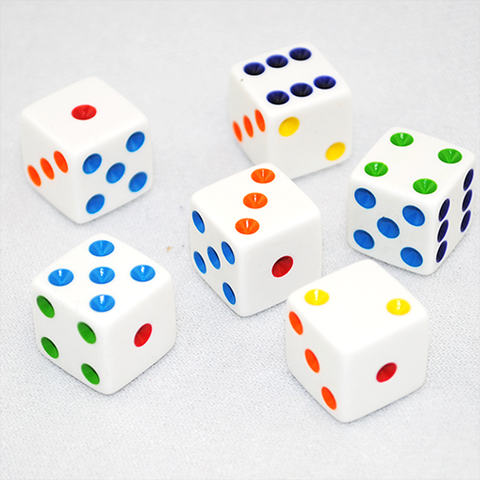 Rainbow Chiclet Dice - 1 pair
