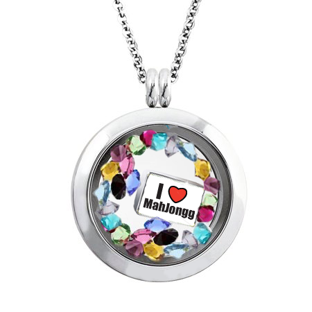 "I ""Heart"" Mah Jongg Floating Locket Necklace"
