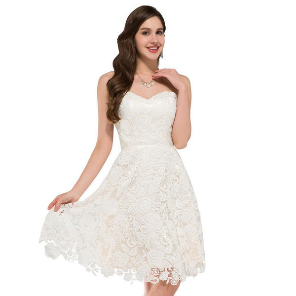 Ivory Vintage Lace Short Wedding Dresses Beach Style Bridal Gowns ...