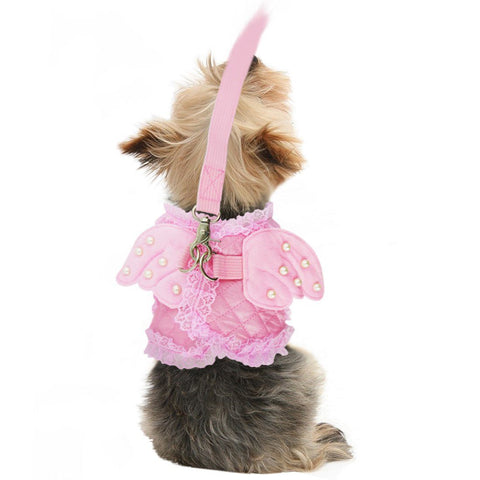 Cute Stylish Yorky Angel Vest Harness Leash