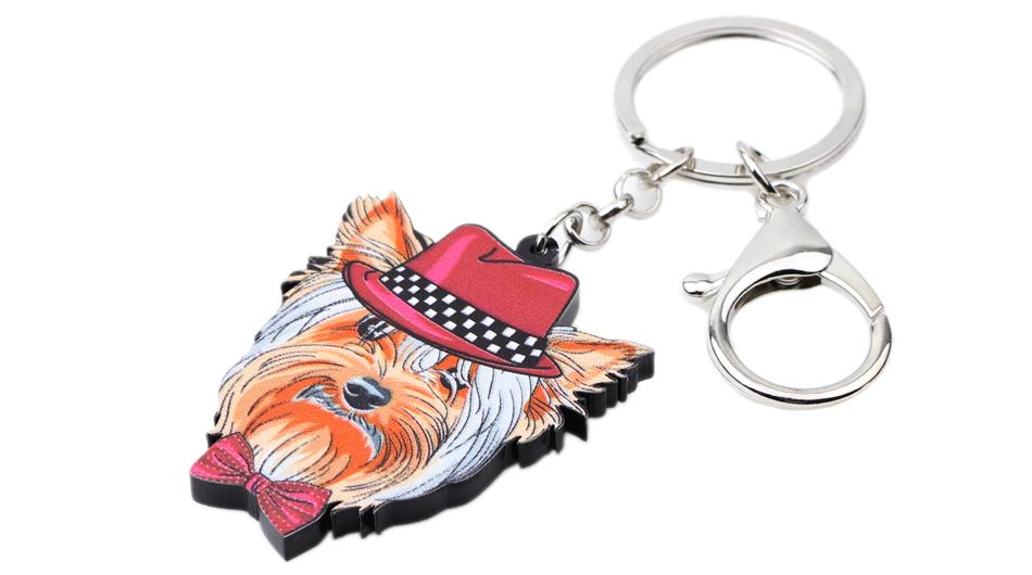 Yorkie Face Key Chain Ring Handbag Charm Accessories