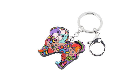 Yorkie Key Chain Dog Pendant Acrylic Paint Handbag Jewelry Accessories