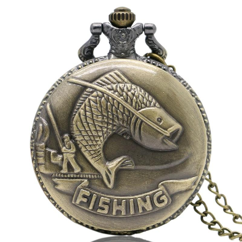 Vintage Fishing Quartz Pocket Watch