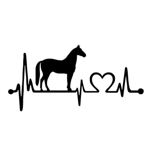 Horse Heartbeat Sticker, 20.5 x 9.9cm Decorative Car Sticker Styling Decals Black/Sliver