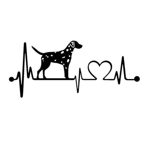 Dalmatian Heartbeat Dog Vinyl Sticker