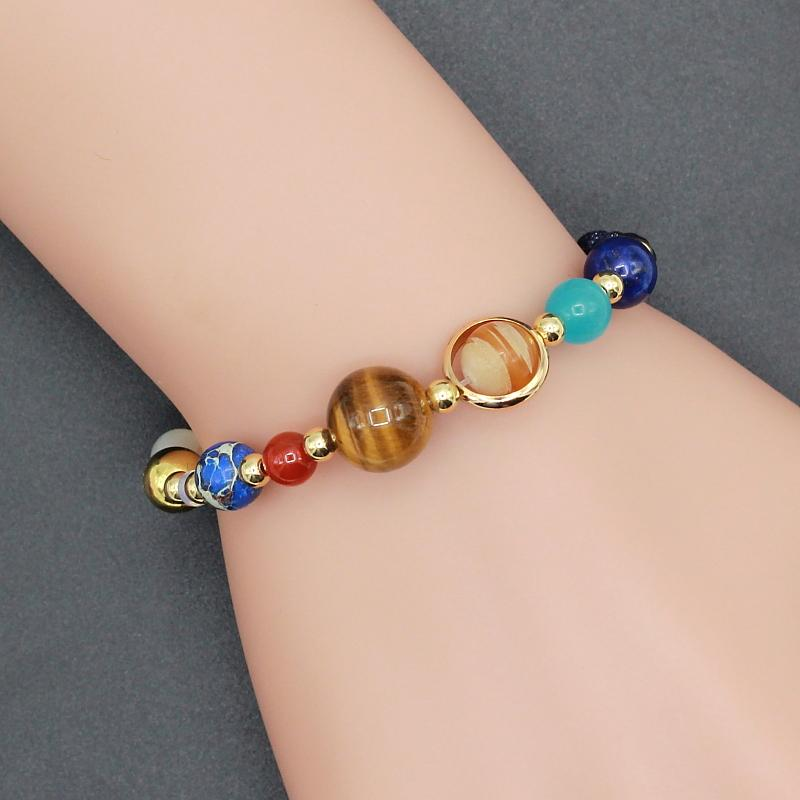 Handmade Solar System Space Universe Real Stone Charm Bracelet
