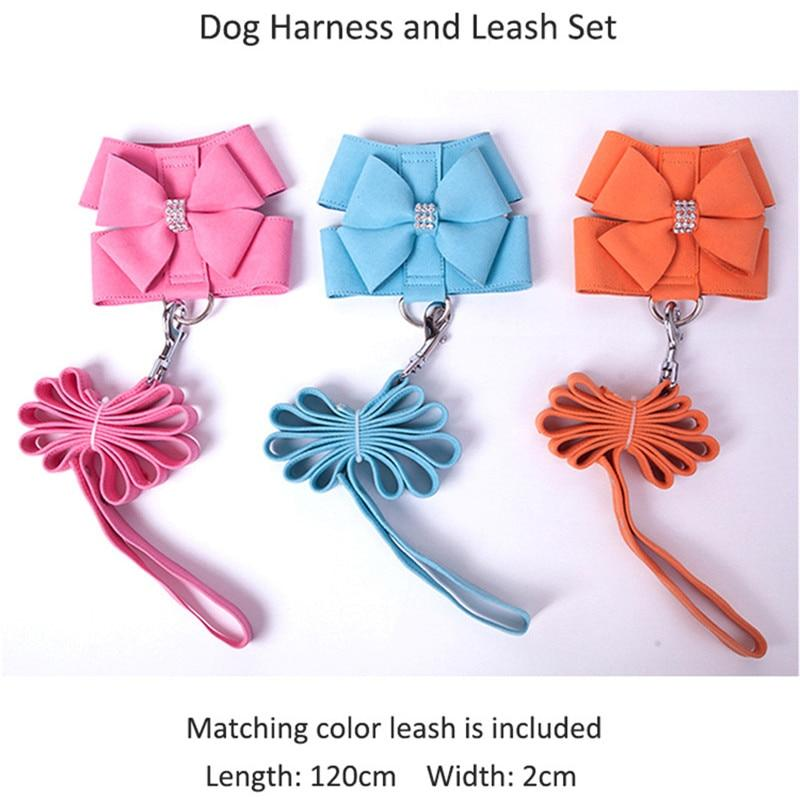 Soft Suede Leather Harness Bow with Rhinestone with Leash for Puppies Chihuahua, Yorkie