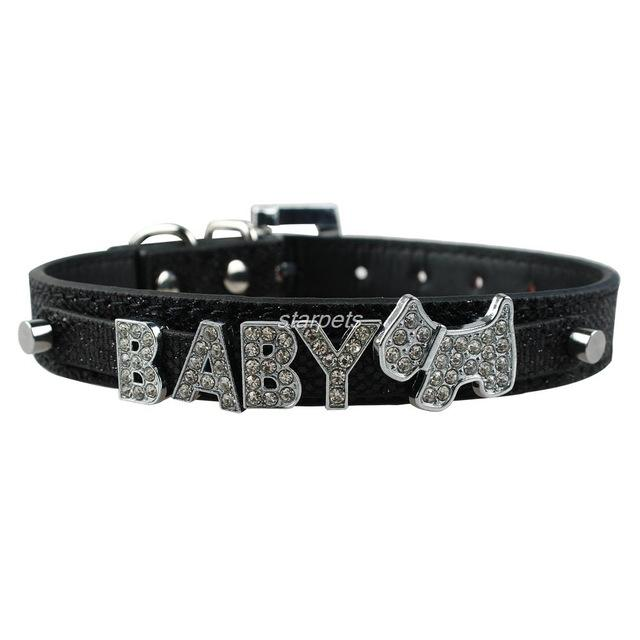 Personalized Leather Pet Dog Collar with Free Rhinestone/Blingy Charm and Name