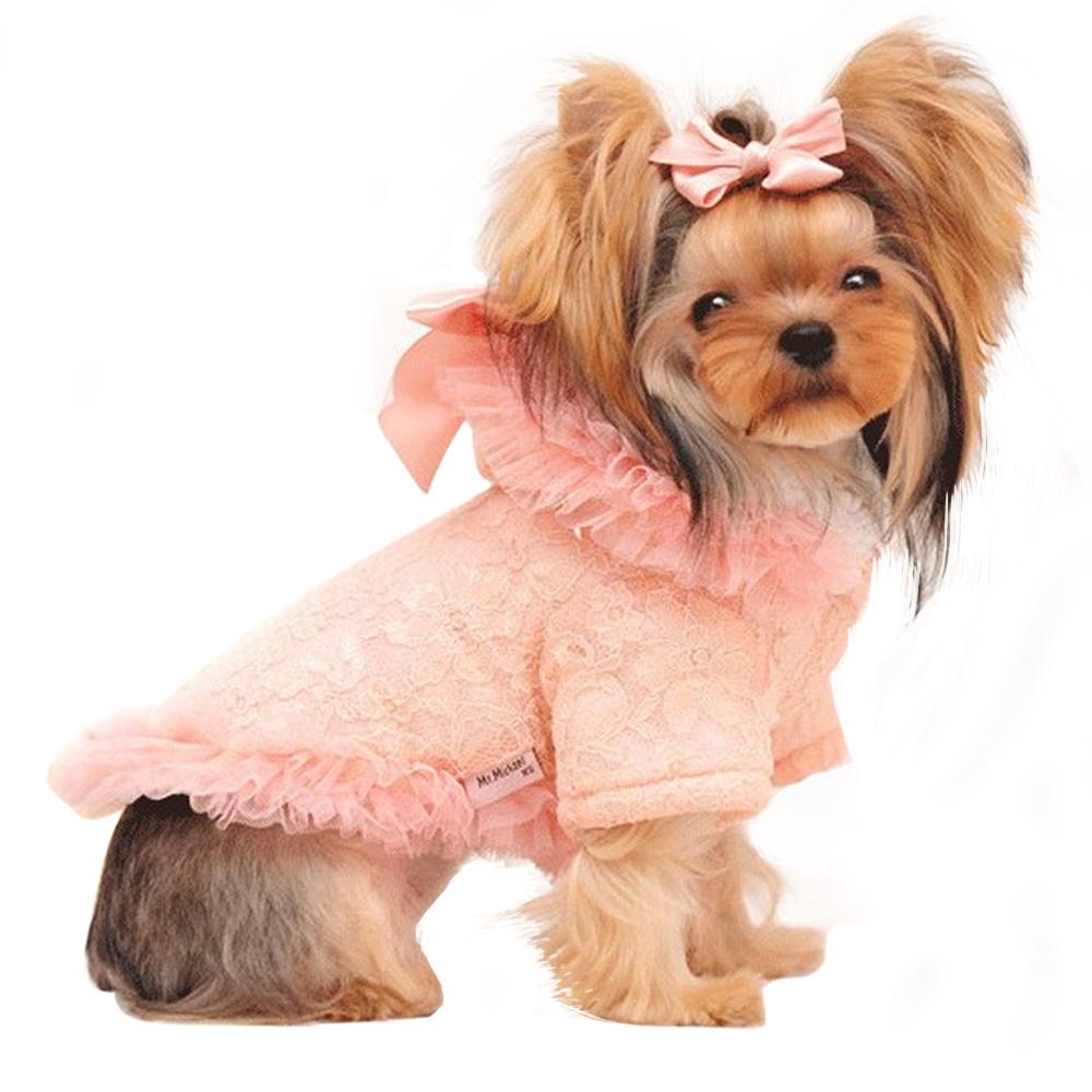 Yorkie Dog Lace Clothes/Coat for Winter, Fleece Lined Jacket for Small Dog Breeds