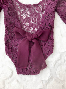 Mulberry Lace Newborn Romper