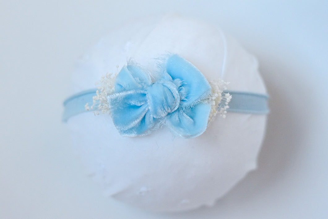 Baby Blue Chic Velvet Bow