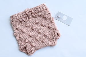 Cotton Knit Popcorn Bloomers Pink (3-12months)
