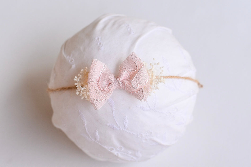 Pink dainty Jute bow