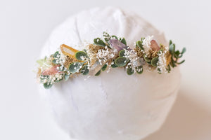 Multi Pastel Peach Crystal Crown