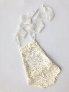 SITTER Cream Scallop Lace Romper