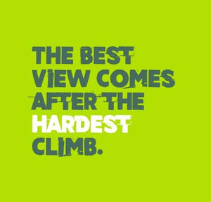 Inspirational Cards Saying The Best View Comes After The Hardest Climb