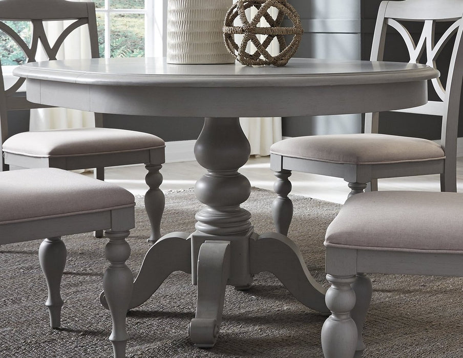 Summer House Casual Dining 5 Piece Pedestal Table Set