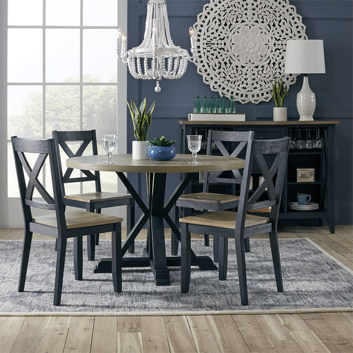 Liberty Furniture | Casual Dining 5 Piece Pedestal Table Set- Navy in Richmond,VA 18176