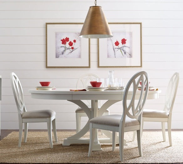 Legacy Classic Furniture | Dining Round to Oval Pedestal Table With Uph Back Side Chairs in Lynchburg, Virginia 4259