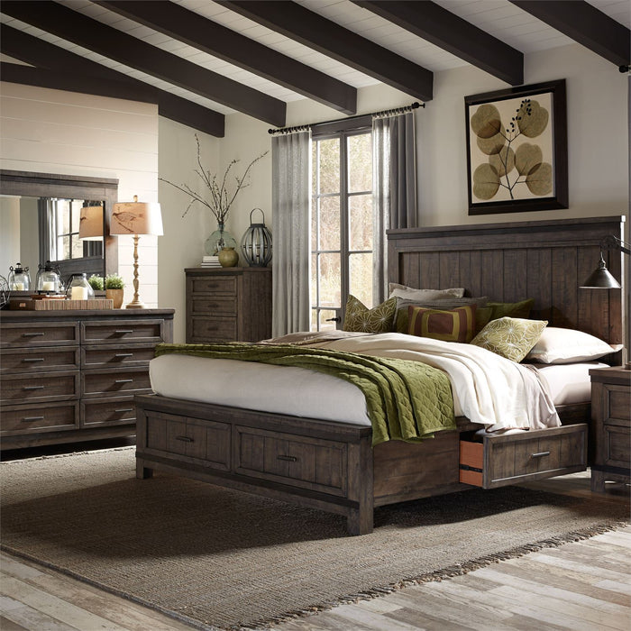 Thornwood Hills Bedroom King Two Sided Storage 5 Piece Bedroom Set