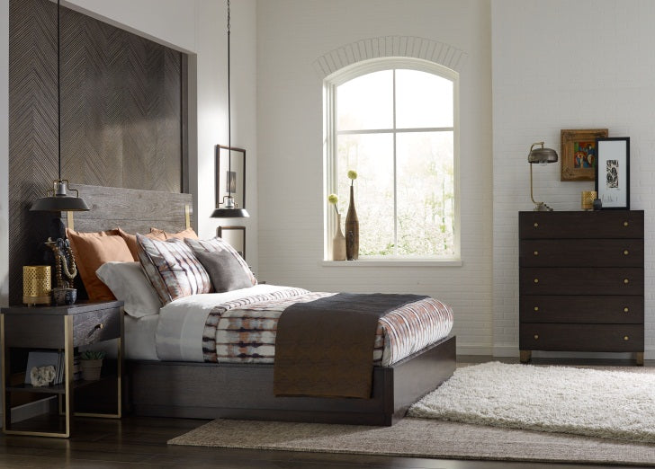 Legacy Classic Furniture | Bedroom King Panel Bed w/ Brass Finish Wood Accents 4 Piece Bedroom Set in Pennsylvania 980