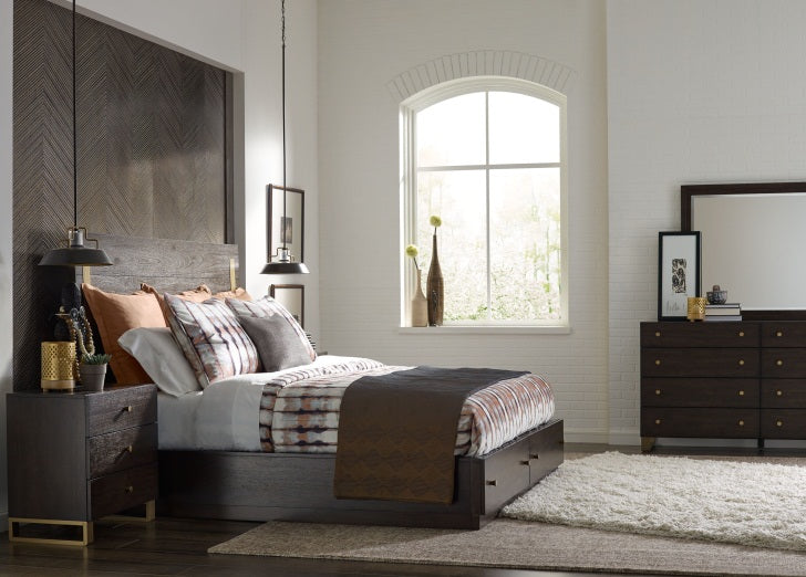 Legacy Classic Furniture |  Bedroom King Panel Bed w/ Storage and Brass Accents 4 Piece Bedroom Set in New Jersey, NJ 1122