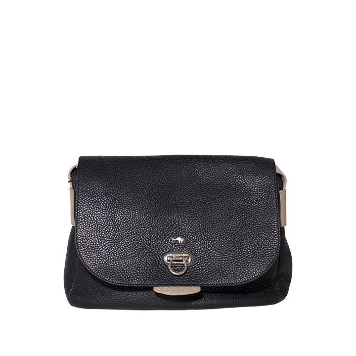 Black Pebble Leather Gancini Buckle Flip Lock Crossbody Flap Bag