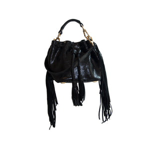 Glossy Black Textured Leather Tassel Smal / Mini Squaw Bag Including a Removable Shoulder Strap
