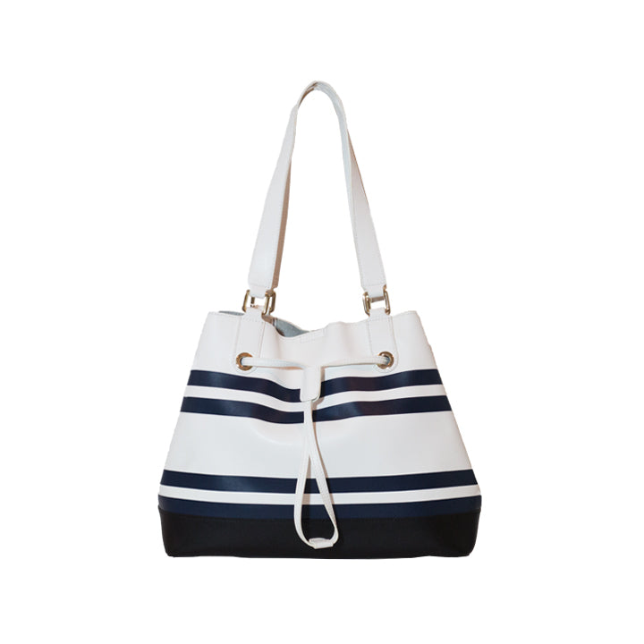 Marine Style Navy & White Stripe Leather Shoulder Bag