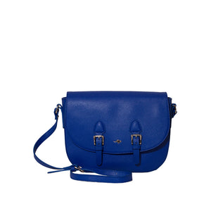 Cobalt Blue Saffiano Leather Crossbody Bag