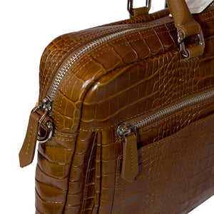 Glossy Brown Leather Briefcase - TMRW STUDIO
