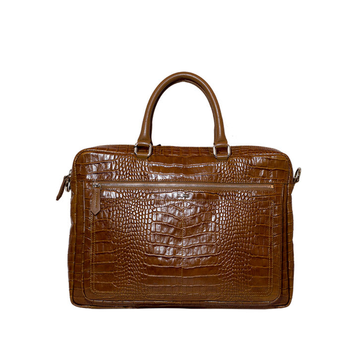 Glossy Brown Crocodile Skin Pattern Leather Briefcase