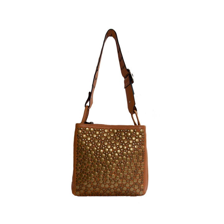 Brown Leather Bronze Stud Detail Shoulder Bag