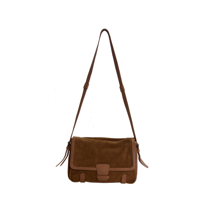 Brown Suede Leather Detail Crossbody Flap Bag
