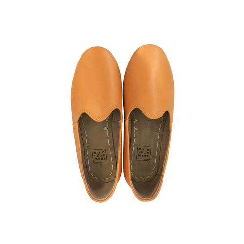 Citrus orange traditional Turkish artisan handmade soft and comfortable lamb leather slip-ons Available for both women and men