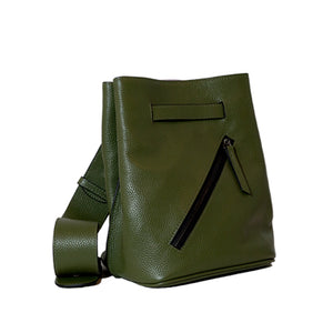 Dark Olive Green Pebble Leather Diagonal Zipper Pocket Shoulder Bag