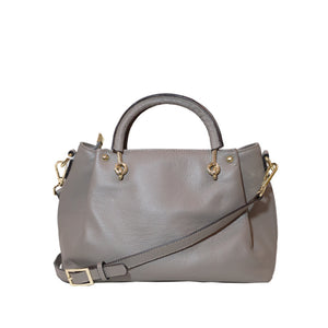 Grey Pebble Leather Medium Tote Bag Including a Removable Shoulder Strap