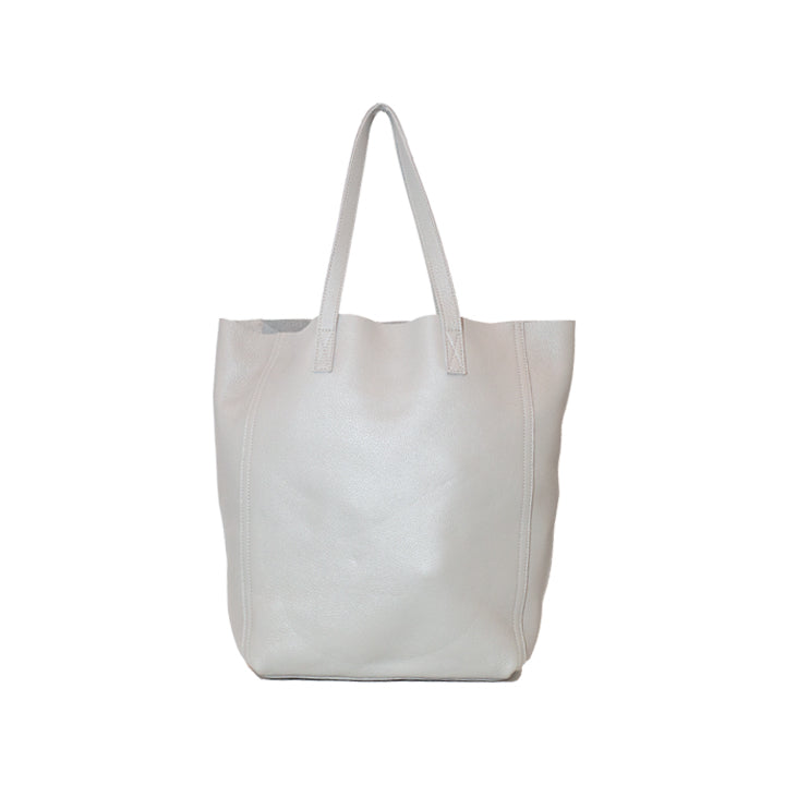 Light Grey Smooth Leather Shopper Bag