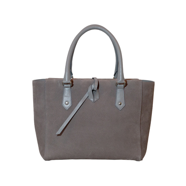 Grey Soft Touch Pebble Leather Medium Tote Bag Including a Removable Shoulder Strap