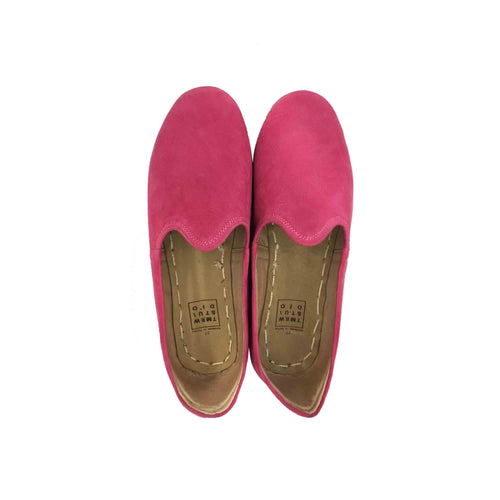 Hot pink traditional Turkish artisan handmade soft and comfortable lamb leather slip-ons Available for both women and men