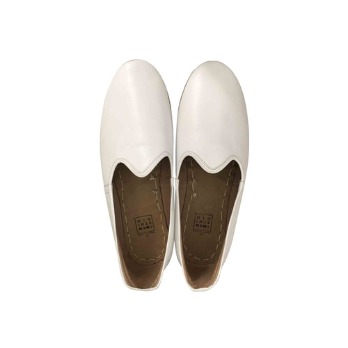 Jasmine white traditional Turkish artisan handmade soft and comfortable lamb leather slip-ons Available for both women and men