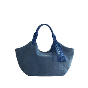 Blue Suede Tassel Hobo Bag