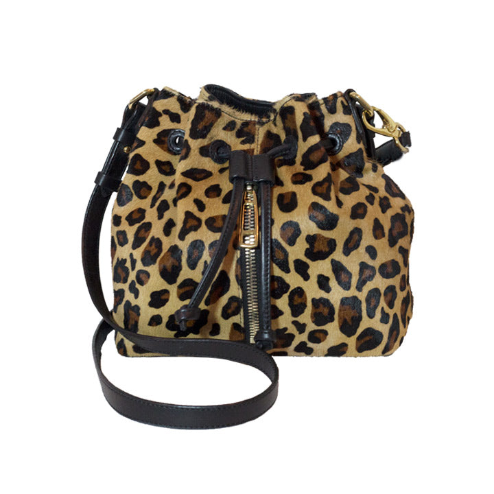 Leopard Pattern Calf Skin Leather Small / Mini Bucket Bag Including a Removable Shoulder Strap