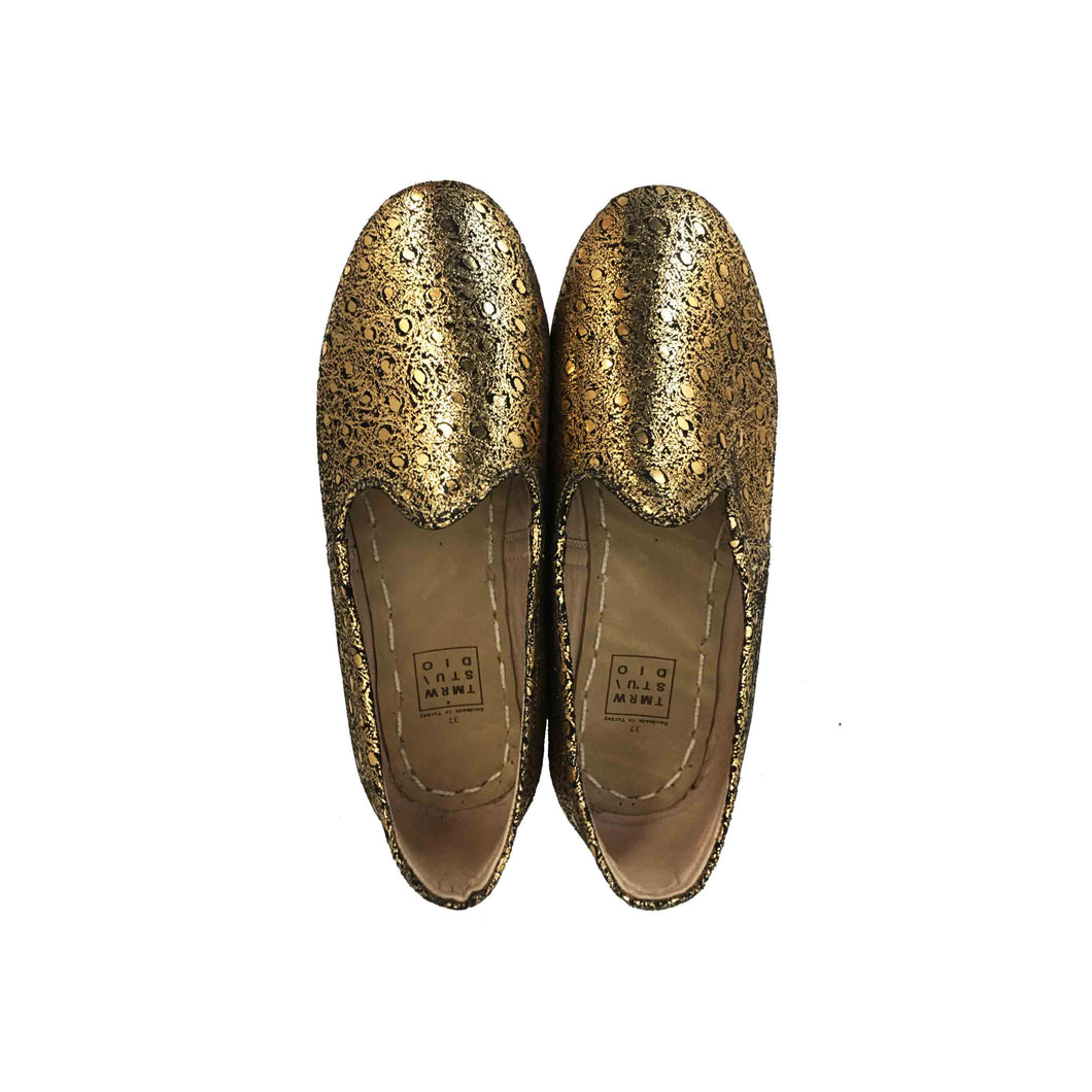 Metalic gold traditional Turkish artisan handmade soft and comfortable lamb leather slip-ons Available for both women and men