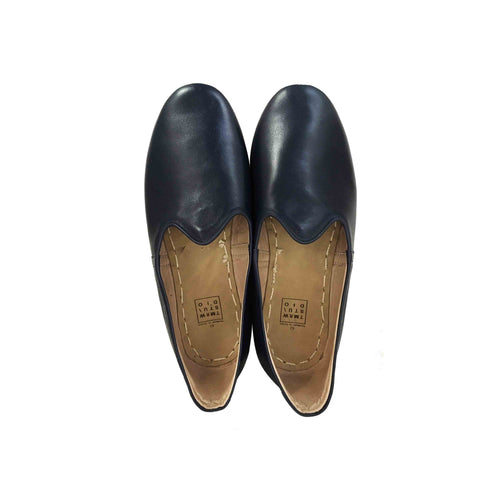Midnight navy traditional Turkish artisan handmade soft and comfortable lamb leather slip-ons Available for both women and men