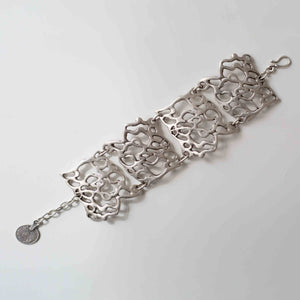 Pewter/silver handmade artisan abstract bracelet Antique silver plated Nickel free Hypoallergenic S hook clasp
