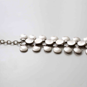 Pewter/silver handmade artisan cluster bracelet Antique silver plated Nickel free Hypoallergenic S hook clasp