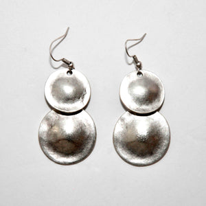 Pewter/silver handmade artisan double layered concave circle earrings Antique silver plated Nickel free Hypoallergenic