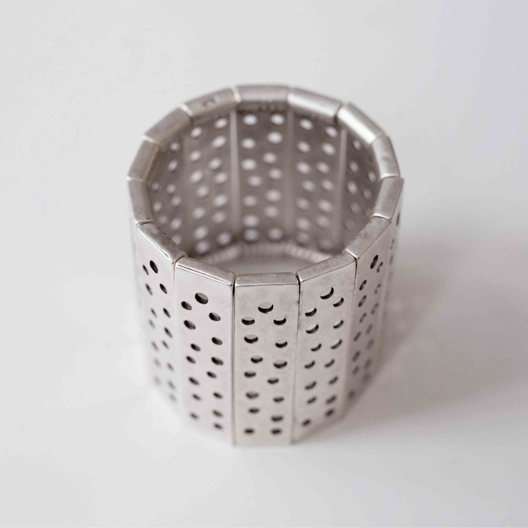 Pewter/silver handmade artisan perforating elastic stretch adjustable bracelet Antique silver plated Nickel free Hypoallergenic