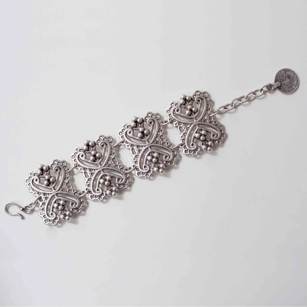 Pewter/silver handmade artisan spike bracelet Antique silver plated Nickel free Hypoallergenic S hook clasp